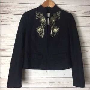 NWT Banana Republic Black Coat W/ Detail Appliqué